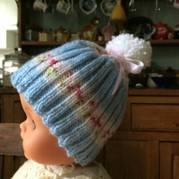 Children's ribbed rosebud bobble hat - 1-2 years