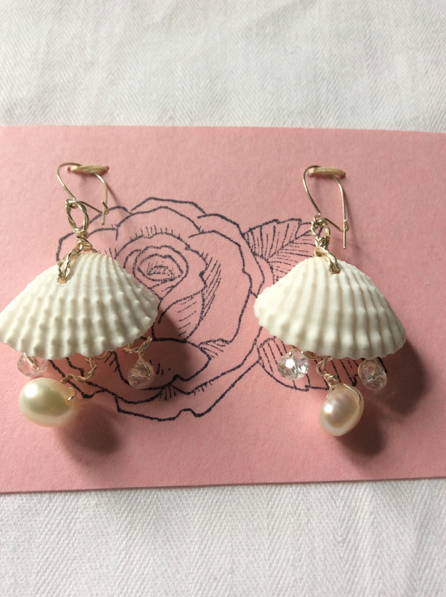 Freshwater pearl and shell earrings