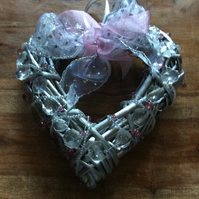 Heart shaped wreath with crystals and bow
