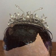 Tiara with faux pearls and crystals