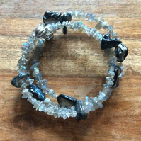 Labradorite and shell spiral bracelet