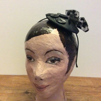 Black fascinator with spotty bow and Art Deco buttons