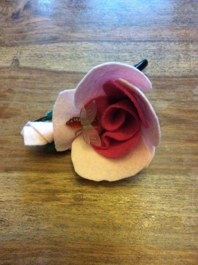 Rose and bee hair clip