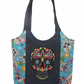 Turquoise Calavera Sugar Skull Day of the Dead quilted tote bag