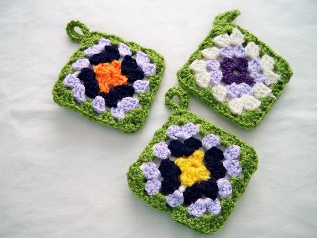 Crocheted Lavender cushions, set of three