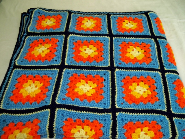 Orange, Yellow and Blue, Blanket, Throw
