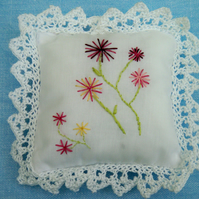 Embroidered lavender cushion
