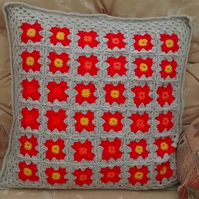 Crocheted Flower Motif Cushion Cover