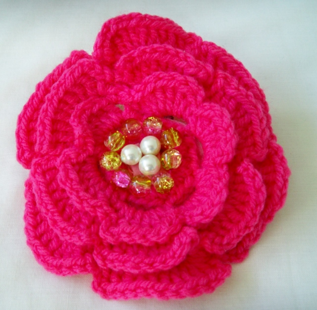 Crochet Deep Pink Flower Brooch