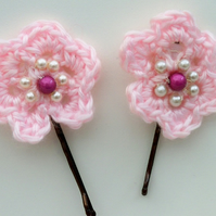 Pair of Pink Flower Hair Grips