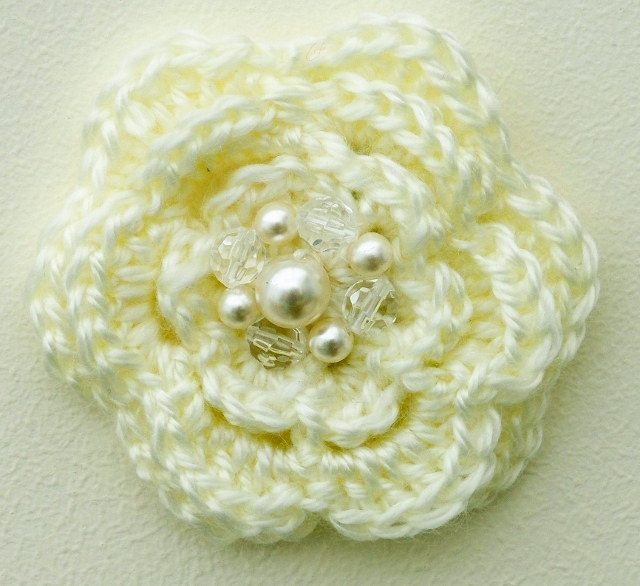 Cream Flower Brooch