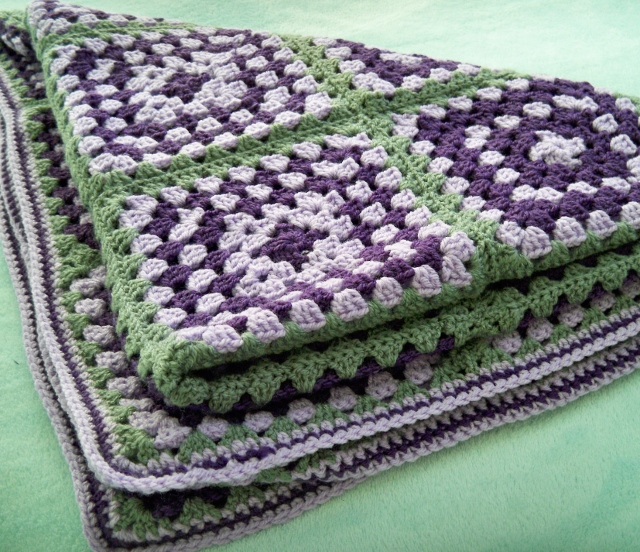 Lilac, Purple and Grey Crochet Blanket