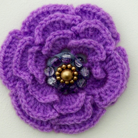 Crochet Lilac Flower Brooch