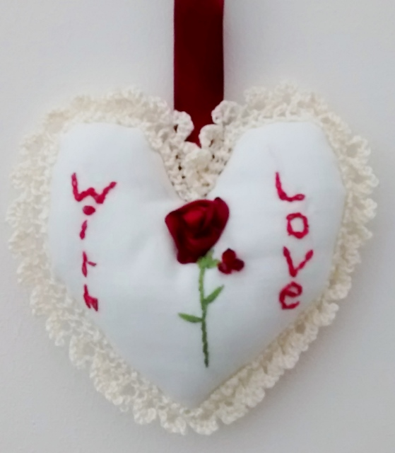 Heart shaped hanging ornament