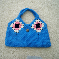 Blue Crocheted Handbag