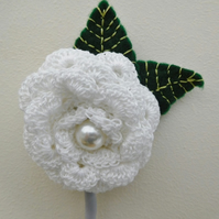 Wedding Buttonhole, White Flower Buttonhole