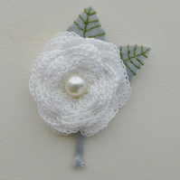White Flower Buttonhole, Wedding Buttonhole