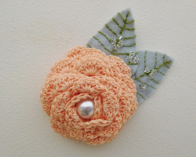 Peach Flower Corsage, Peach Flower Brooch