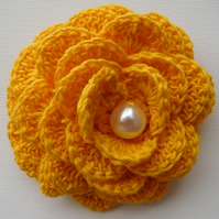 Buttercup Yellow Flower Brooch,  corsage