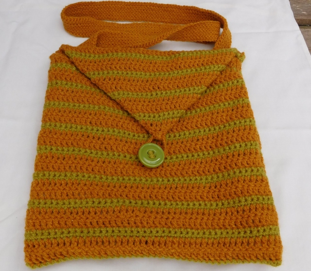 Crocheted, Striped, Shoulder Bag
