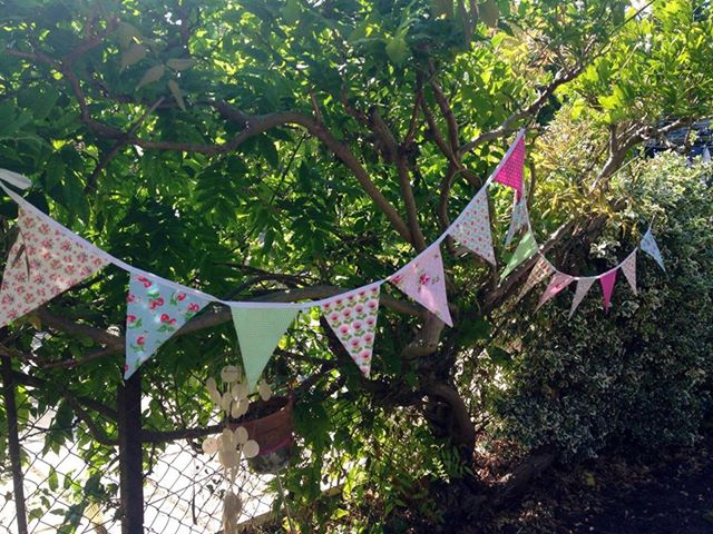 Shabby chic, country cottage bunting 16 flags over 4 metres