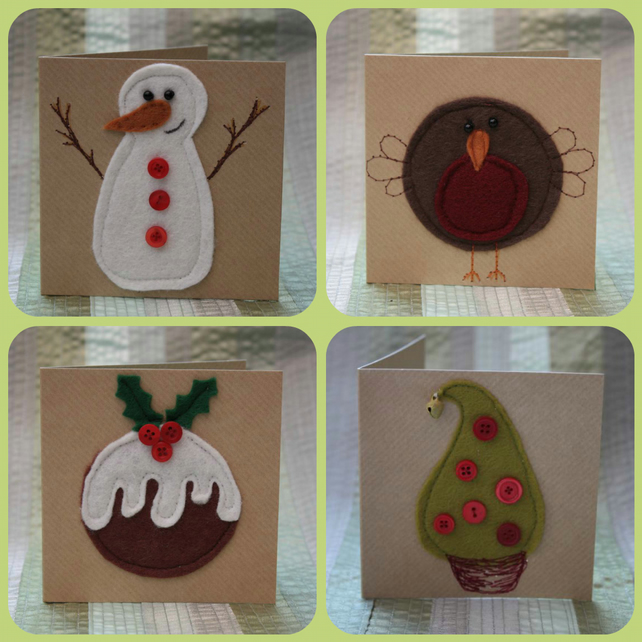 Pack 1 of small felt Christmas cards