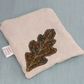 Embroidered linen zip pouch- Oak leaf