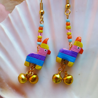 Multicoloured Pinata Mini Polymer Clay Celebration Festival Charm earrings Bells