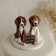 Custom Dog Cake Topper - Two Dog Cake Topper - Dog Wedding Cake Topper - Dog Cak