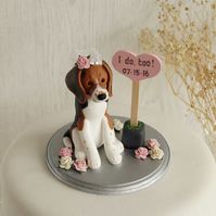 Dog cake topper - custom dog cake topper sculpture on base with sign.