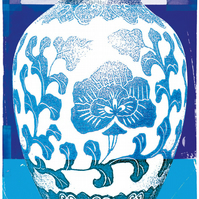 Blue vase. A3 limited edition giclee print ion 300gsm acid free archival stock