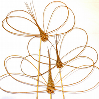 Make 3 Willow Garden Dragonflies: a craft kit for complete beginners to weave.
