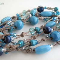 Blue Necklace, Boho Style Long Necklace, Hemp Knotted Necklace