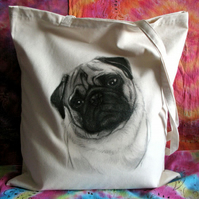 Pug cotton tote bag - dog art