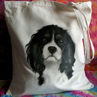 King Charles Spaniel cotton tote bag - dog art