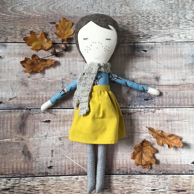Bea - A Handmade Cloth Doll, Rag Doll, Fabric Doll, OOAK Doll, Christmas Gift