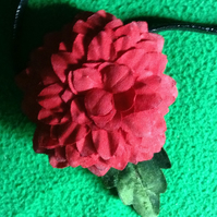 Many-petaled Red Flower and Green Leaf hair band