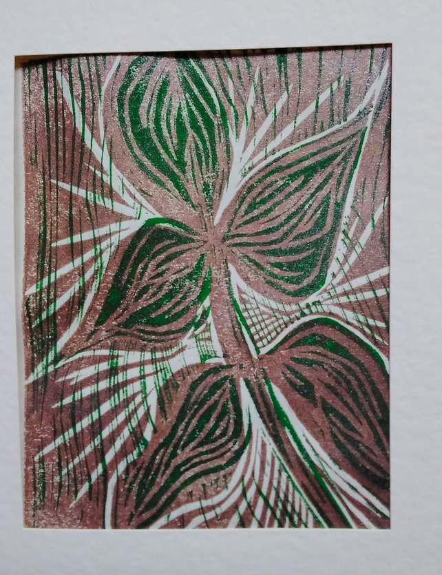 Plant Joy - handprinted linoprint