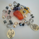 Hematine chips and glass bead bracelet.