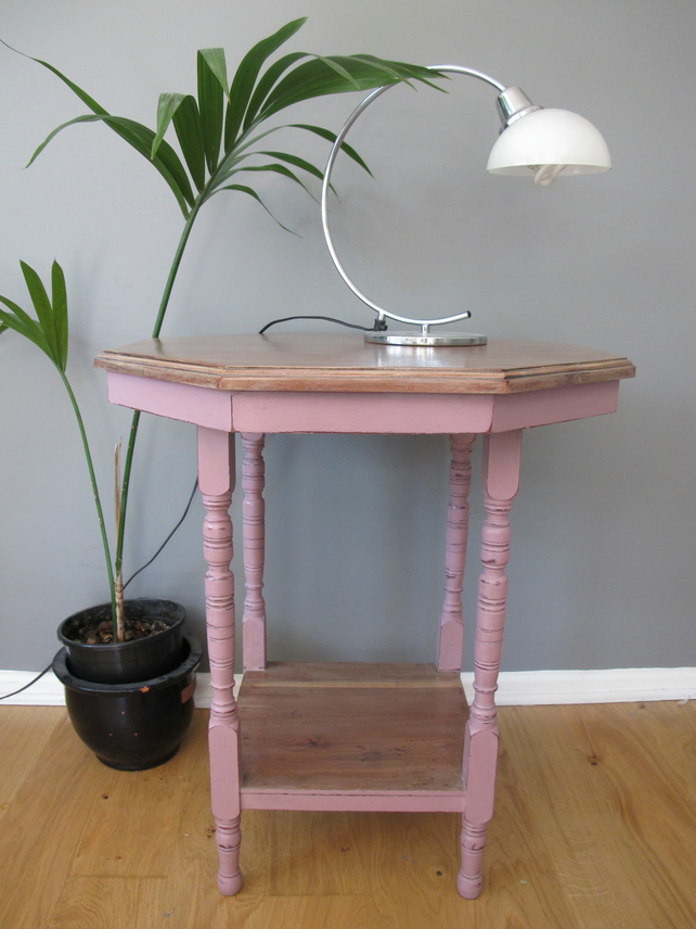 Pink Bedside Table: Gorgeous Pink Turned Leg Side Console Bedside T...