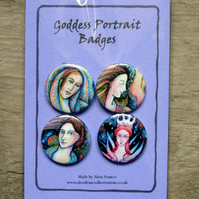 Badges set - Goddess Portraits