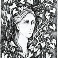 Original Illustration - Face in the Leaves