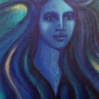 Blue Goddess - Painting on Reclaimed Wood