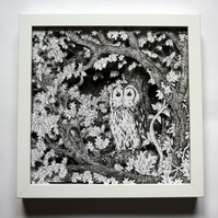 Owl at Dusk - Papercut in Box Frame