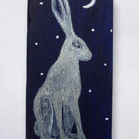 Silver Hare Painting on Wood