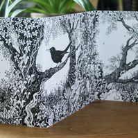 Owls and Blackbirds -  a double-sided concertina greetings card