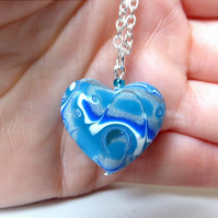 Blue Polymer Clay Mokume Gane Heart Necklace
