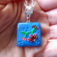 Square Polymer Clay Tile Blossom Necklace