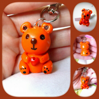 Polymer Clay Orange Teddy Bear Keyring