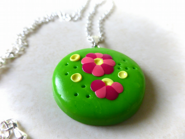 Flowers in Bloom Lime Green Polymer Clay Necklace